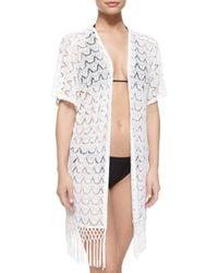 La Blanca - White Flamenco Lace Kimono Coverup - Lyst