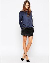 Gestuz - Blue Silk Zip Through Shirt - Lyst