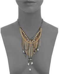 ABS By Allen Schwartz | Metallic Bead And Chain Multi-row Necklace | Lyst