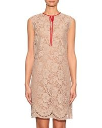 Gucci - Natural Sleeveless Lace Dress - Lyst