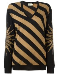 Fausto Puglisi - Black Striped V-neck Sweater - Lyst