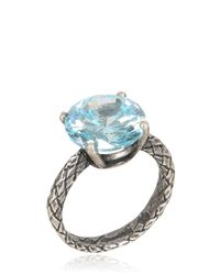 Bottega Veneta | Metallic Oxidized Silver Ring With Cubic Zirconia | Lyst