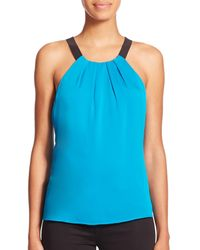 MILLY - Blue Contrast Crepe Top - Lyst