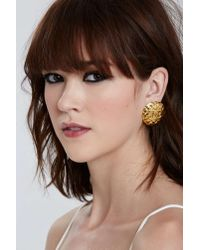 Nasty Gal | Metallic Vintage Chanel Quilted Round Earrings | Lyst