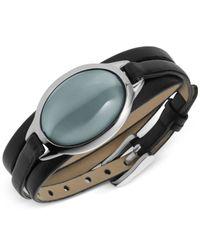 Skagen | Metallic Silver-tone Sea Glass Bracelet With Leather Strap | Lyst