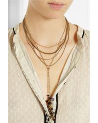 Isabel Marant - Blue Multi-Strand Gold-Tone Crystal Necklace - Lyst