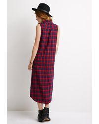 Forever 21 - Blue Longline Plaid Shirt Dress - Lyst