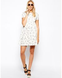 f0c02f5bfb ASOS. Women s Skater Dress With Textured Bird Print