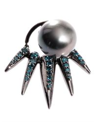Nikos Koulis | Black Diamond Pearl and Gold Earrings | Lyst