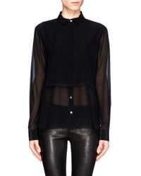 T By Alexander Wang - Black Frayed Layer Sheer Shirt - Lyst
