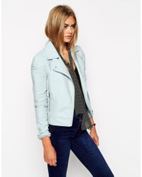 ASOS | Blue Leather Look Biker Jacket With Structured Shoulder And Multi Stitch | Lyst