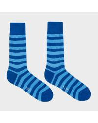 Paul Smith - Men's Sky Blue And Navy Stripe Socks for Men - Lyst