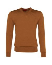 HUGO | Brown Sweater In New Wool: 'sacaralio' for Men | Lyst
