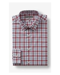 Express | Red Tall Plaid Dress Shirt for Men | Lyst