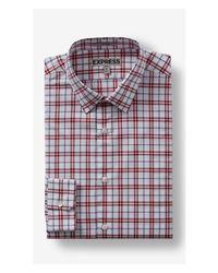 Express | Red Tall Plaid Dress Shirt for Men | Lyst
