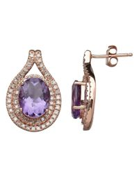 Lord & Taylor | Pink 14k Rose Gold Amethyst And Diamond Earrings | Lyst