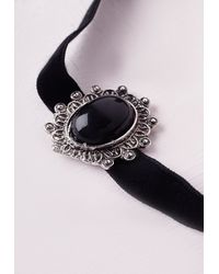 Missguided - Western Concho Choker Black/silver - Lyst