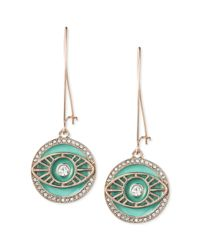 RACHEL Rachel Roy - Green Rose Goldtone Turquoise Enamel Evil Eye Drop Earrings - Lyst