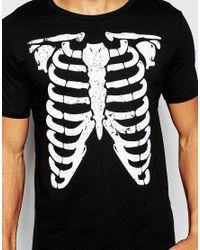 ASOS - Black Halloween T-shirt With Distressed Skeleton Print for Men - Lyst