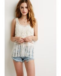 Forever 21 - Natural Crochet Cutout Fringe Tank You've Been Added To The Waitlist - Lyst