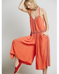 Free People | Orange Womens Ares Sleeveless Jumpsuit | Lyst