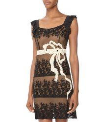 RED Valentino - Beaded Bowdetail Embroidered Mesh Dress Black 44 - Lyst