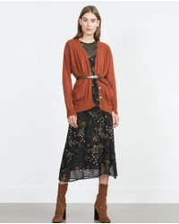 Zara | Orange Knit Cardigan With Pockets | Lyst