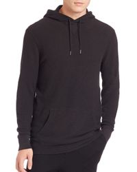 Polo Ralph Lauren - Black Ribbed Cotton Hoodie for Men - Lyst