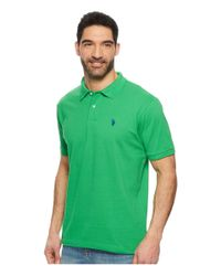 U.S. POLO ASSN. - Green Solid Cotton Pique Polo With Small Pony for Men - Lyst