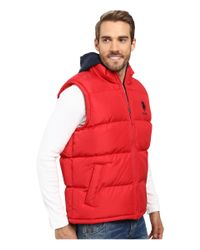 U.S. POLO ASSN. - Red Basic Puffer Vest With Fleece Hood for Men - Lyst