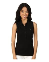 Lacoste - Black Sleeveless Slim Fit Stretch Pique Polo Shirt - Lyst