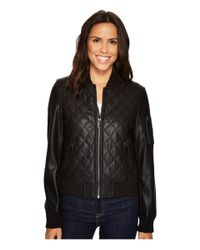French Connection - Black Pleather Diamond Quilt Bomber - Lyst
