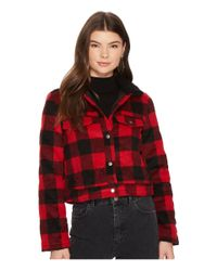 Jack BB Dakota - Red Cicily Buffalo Plaid Jacket With Sherpa Collar - Lyst