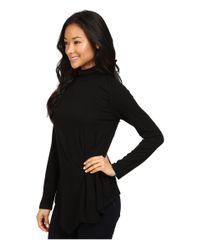 Vince Camuto - Black Long Sleeve Turtleneck Side Ruched Top - Lyst