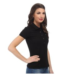 Lacoste - Black Short Sleeve Slim Fit Stretch Pique Polo Shirt - Lyst