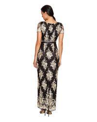 Tahari - Black Embroidered Sheath Gown - Lyst