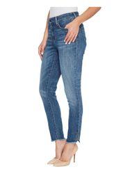 NYDJ - Blue Ami Skinny Ankle Jeans W/ Fray Side Slit In Crosshatch Denim In Newton - Lyst
