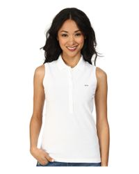 Lacoste - White Sleeveless Slim Fit Stretch Pique Polo Shirt - Lyst