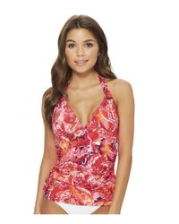 Lauren by Ralph Lauren - Red Exotic Paisley Halterkini Top With Molded Cups - Lyst