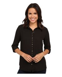 Kut From The Kloth - Black Lexi Collar Blouse W/ Snaps & Eyelet - Lyst