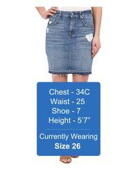 7 For All Mankind - Blue Mini Pencil Skirt W/ Released Hem & Destroy - Lyst