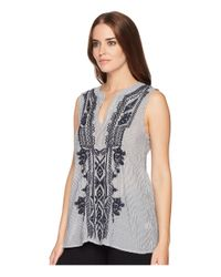 Dylan By True Grit - Blue Artisan Sleeveless Stripe Tunic With Navy Embroidery - Lyst