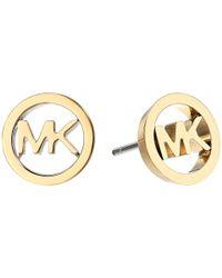 Michael Kors - Metallic Logo Tone Stud Earrings - Lyst