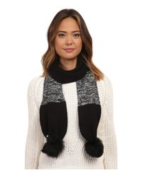 Ugg - Black Classic Marled Scarf W/ Sequins And Fur Pom - Lyst