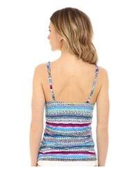 Jantzen - Blue Painted Stripe V-neck Over The Shoulder Tankini - Lyst