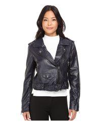 Blank NYC | Blue Moto Vegan Leather Jacket In Uninvited | Lyst