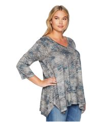 Nally & Millie - Gray Plus Size Burnout Floral Print Tunic - Lyst