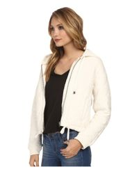 Free People - Natural Quilted Knit Hoodie - Lyst