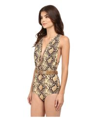 Michael Kors - Multicolor Snake-print Shirred Maillot - Lyst