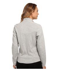 Lauren by Ralph Lauren - Gray Zip Front Lounge Jacket - Lyst